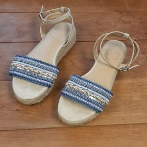 Kaari blue wedge sandals